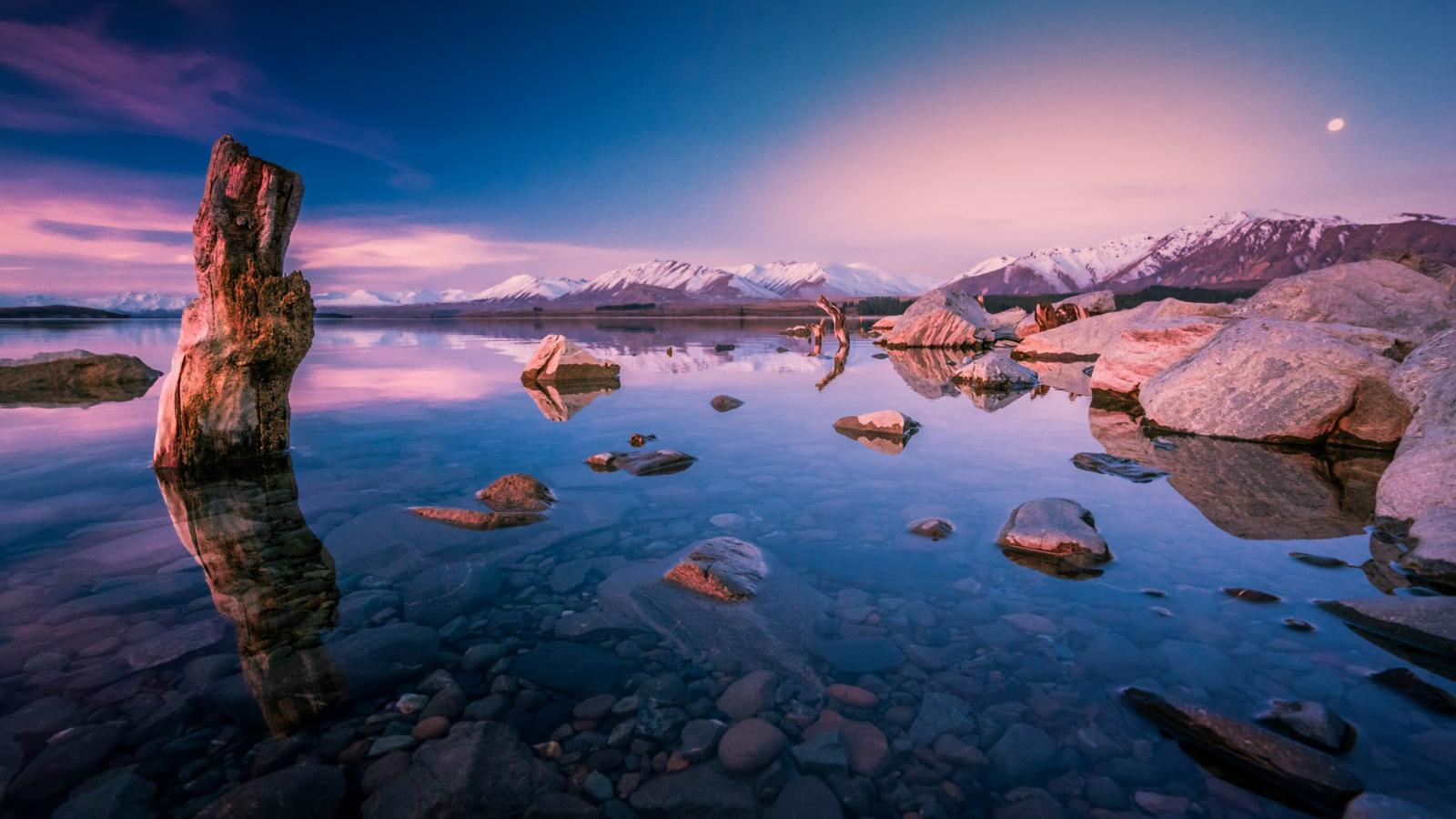 Evening Sunset Over Lake Tekapo New Zealand for Desktop ...