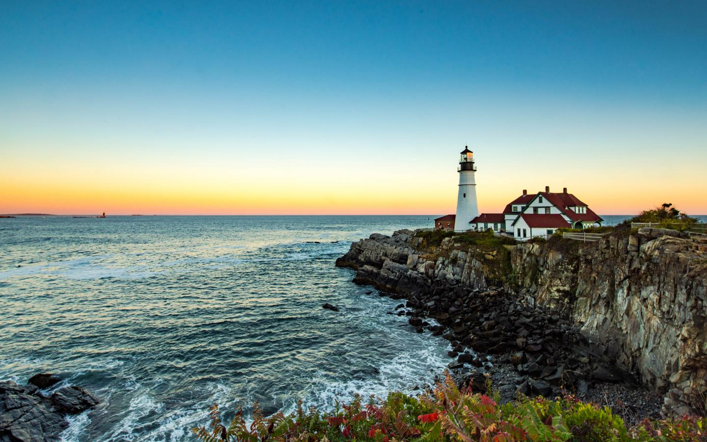 Beautiful Nature Picture With Portland Head Light In Maine