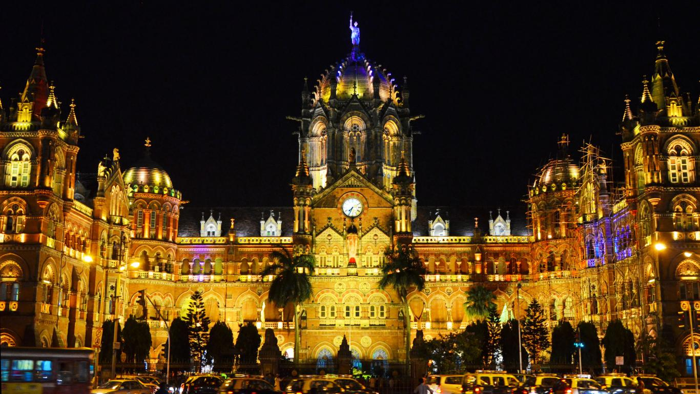 Chhatrapati Shivaji Terminus Railway Station At Night For Architecture Wallpaper Hd Wallpapers