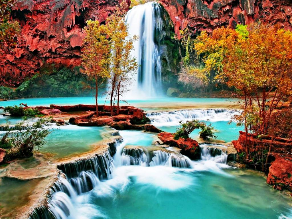 Beautiful Nature Wallpaper with Waterfall in Autumn Forest ...