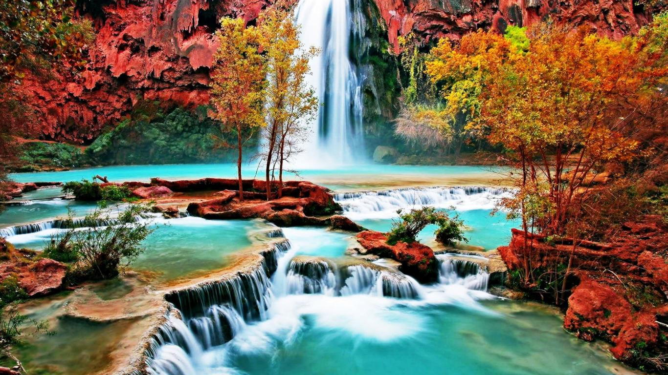 Cool And Beautiful Nature Desktop Wallpaper Image: Beautiful Nature Wallpaper With Waterfall In Autumn Forest
