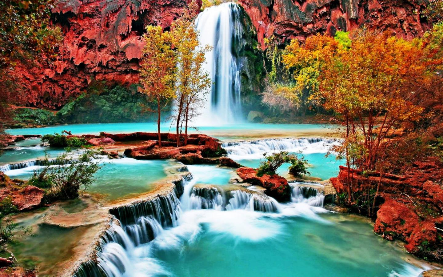 Wonderful Nature Hd Wallpaper: Beautiful Nature Wallpaper With Waterfall In Autumn Forest