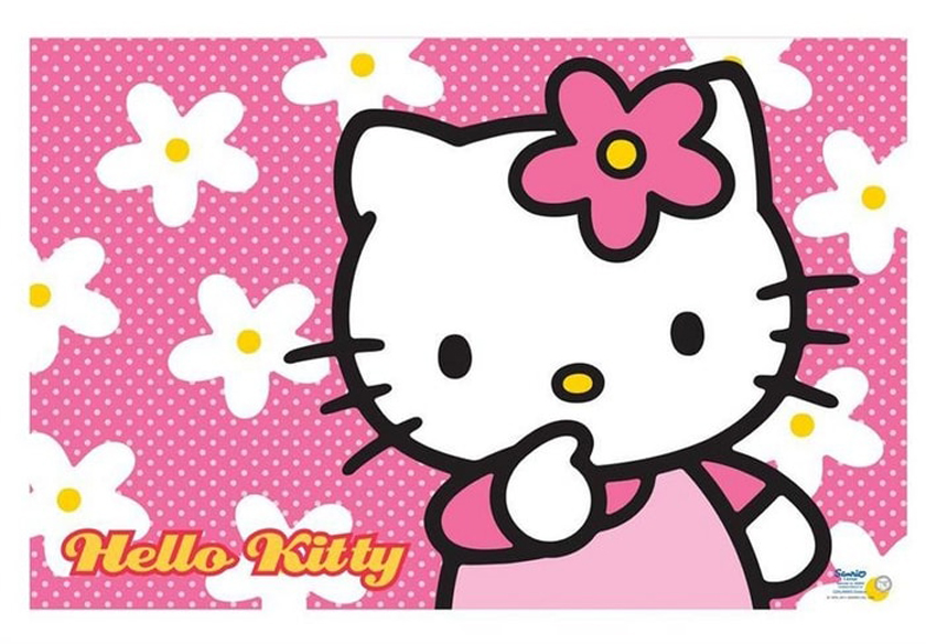 Hello Kitty Face Wallpaper Desktop with Floral Pink Background HD Wallpapers Wallpapers