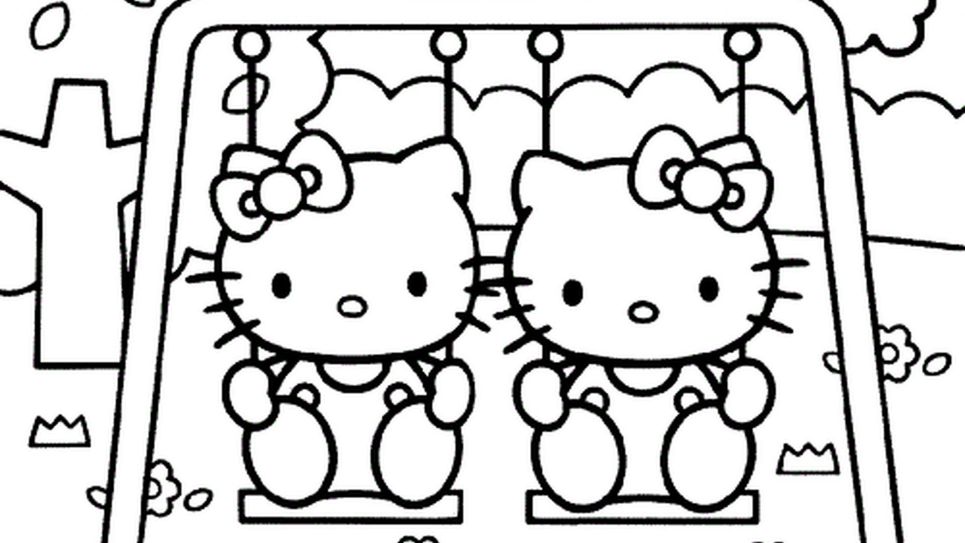 Hello Kitty Coloring Pages 03 of 15 – Kitty and Mimmy