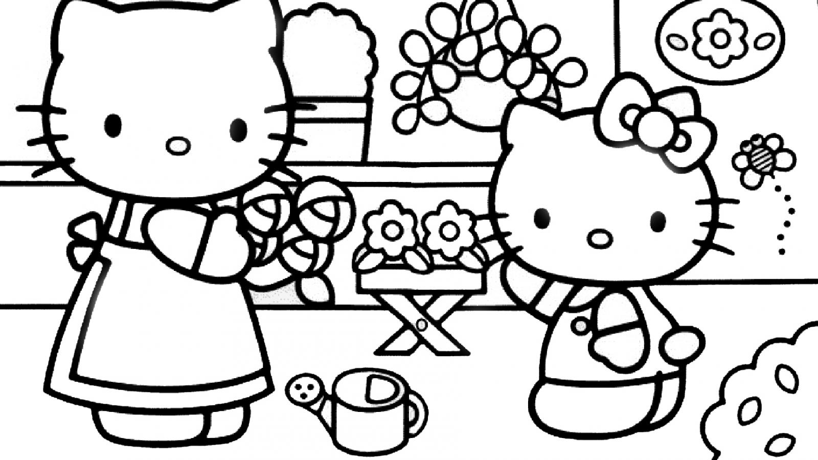 hello kitty coloring pages wallpapers for ipad   Hello Kitty Coloring Pages 05 of 15 - In the Garden with ...