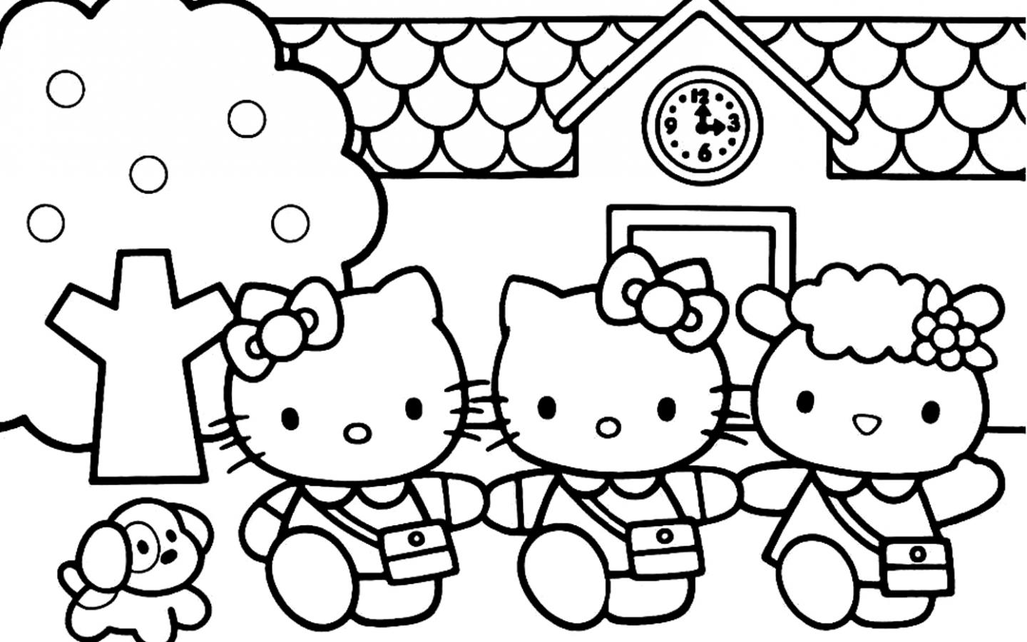 Hello Kitty Coloring Pages 07 Of 15 - Mimmy, Kitty And Fifi - HD Wallpapers