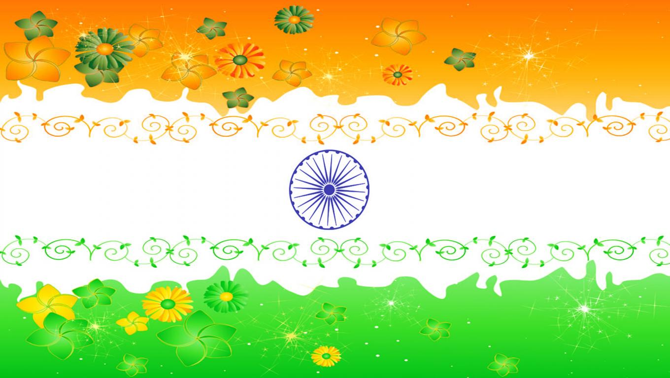 Flower With Indian Flag Hd: India Flag With Floral Ornaments In Three Colors