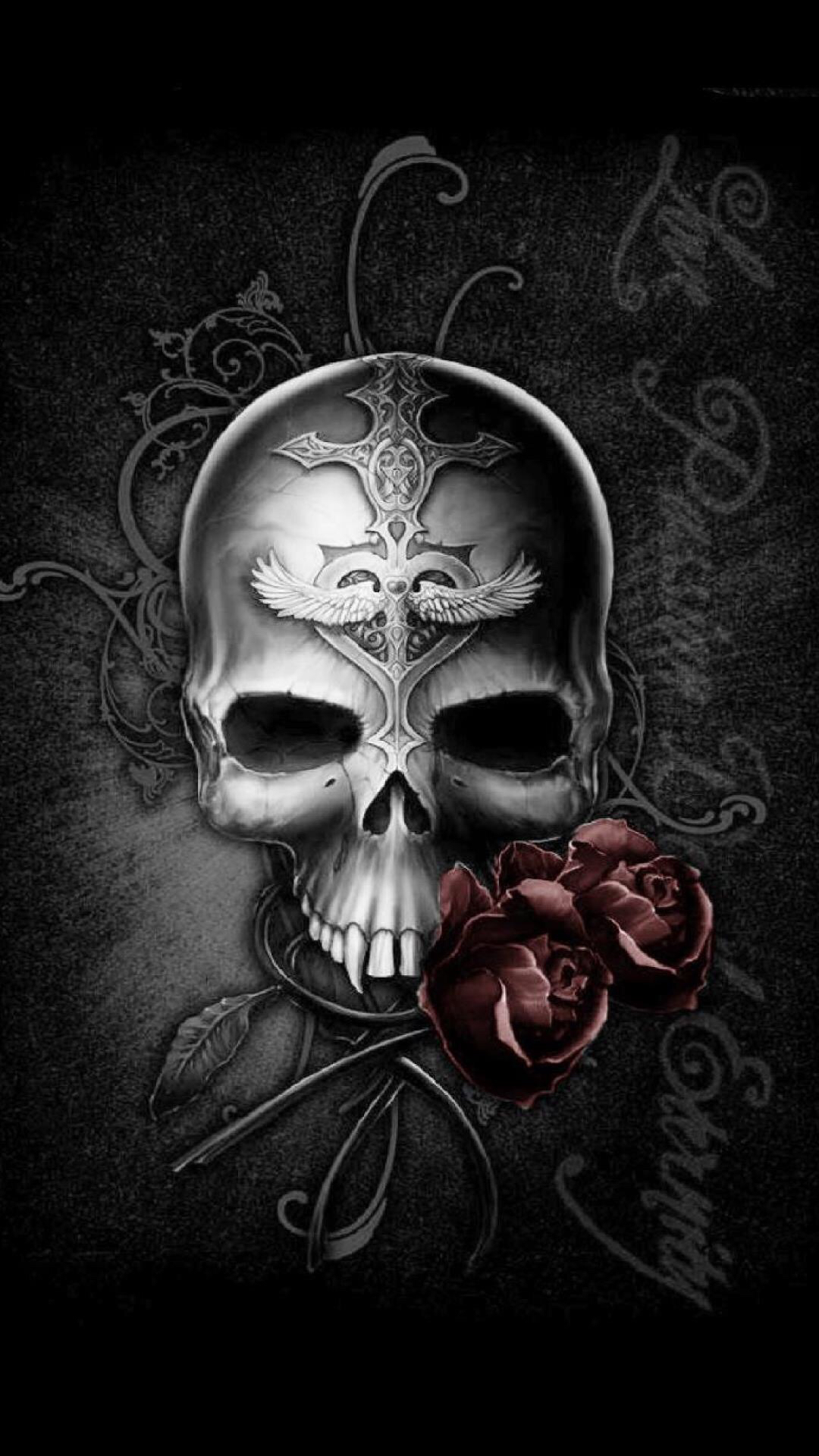 Badass wallpapers for android 03 0f 40 dark skull and rose - Hd rose wallpaper for android mobile ...