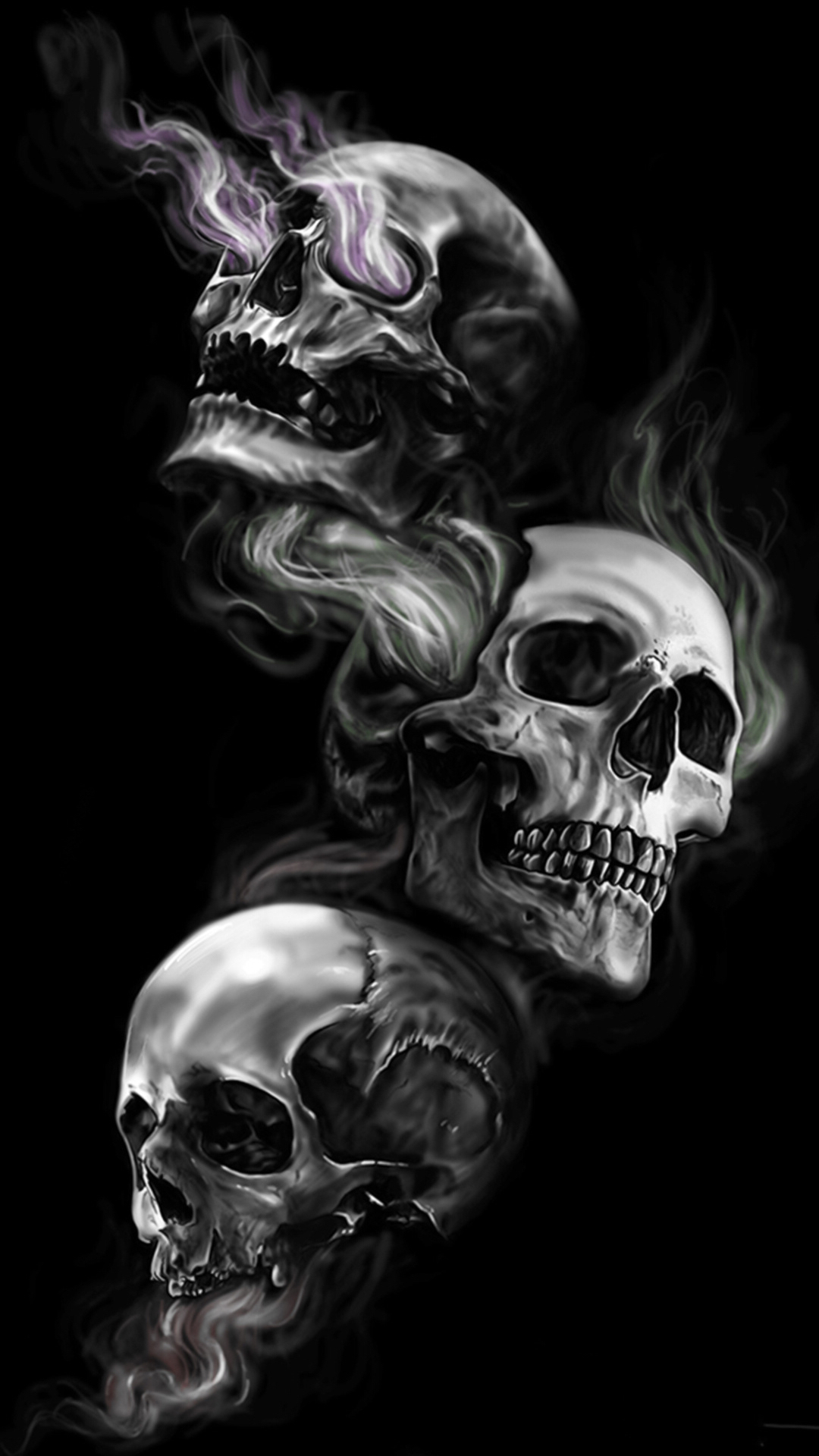 Badass Wallpapers For Android 04 0f 40 Three Skulls on Dark Black Background | HD Wallpapers ...