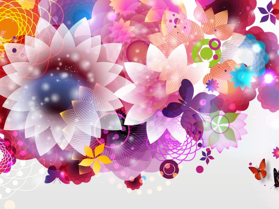 Bright floral wallpaper for walls and desktop hd for Bright wallpaper for walls