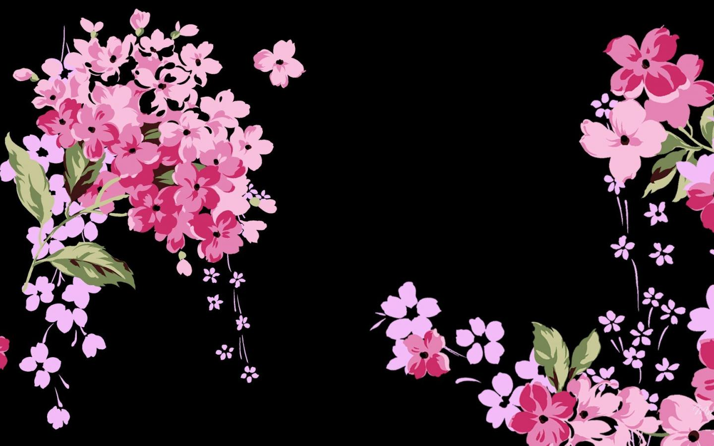 Black And Pink Floral Wallpaper Hd Wallpapers