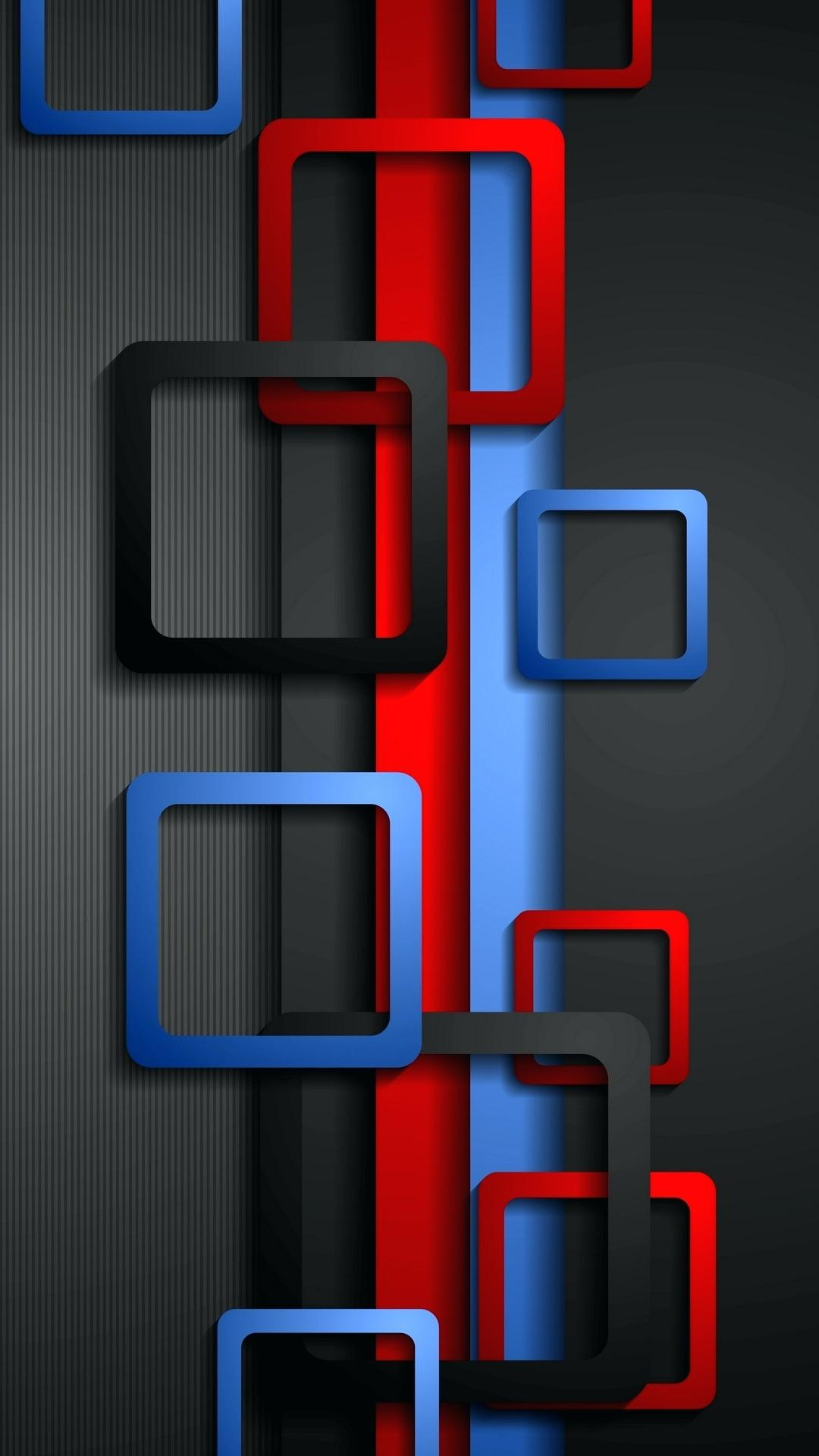 wallpaper full hd for mobile with red blue and black box | hd