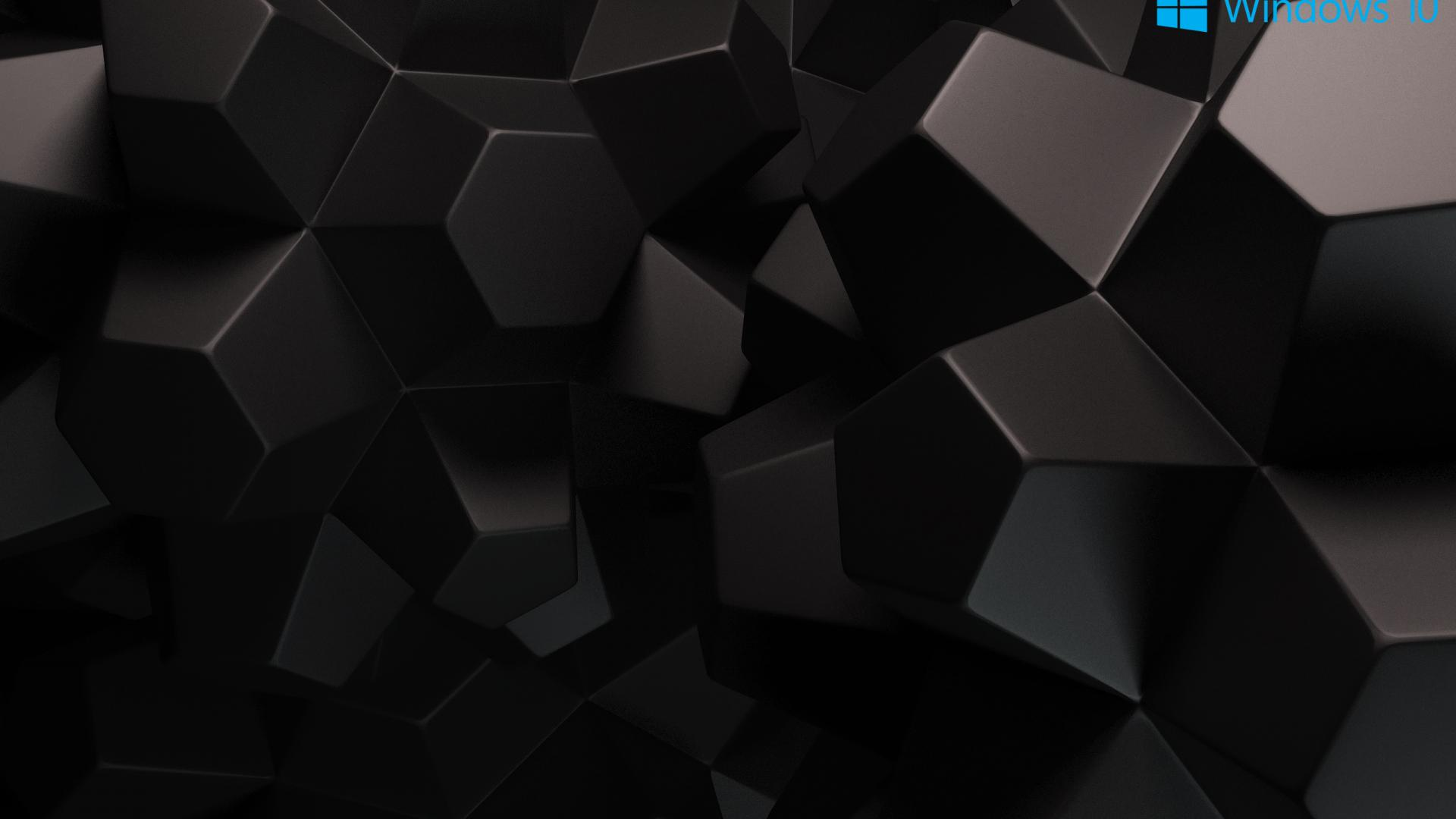 Windows 10 Wallpaper Black With 3d Object Hd Wallpapers