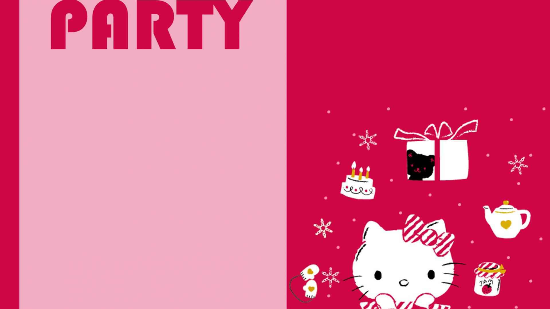 Free Hello Kitty Wallpaper for Party Invitation Card Design - HD ...