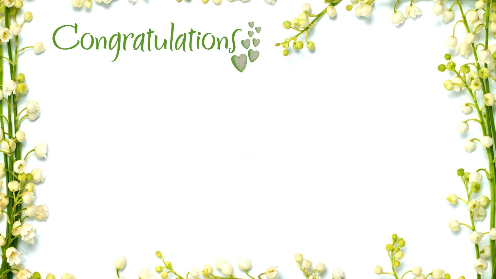 Congratulations Picture Frames With Green Floral Border