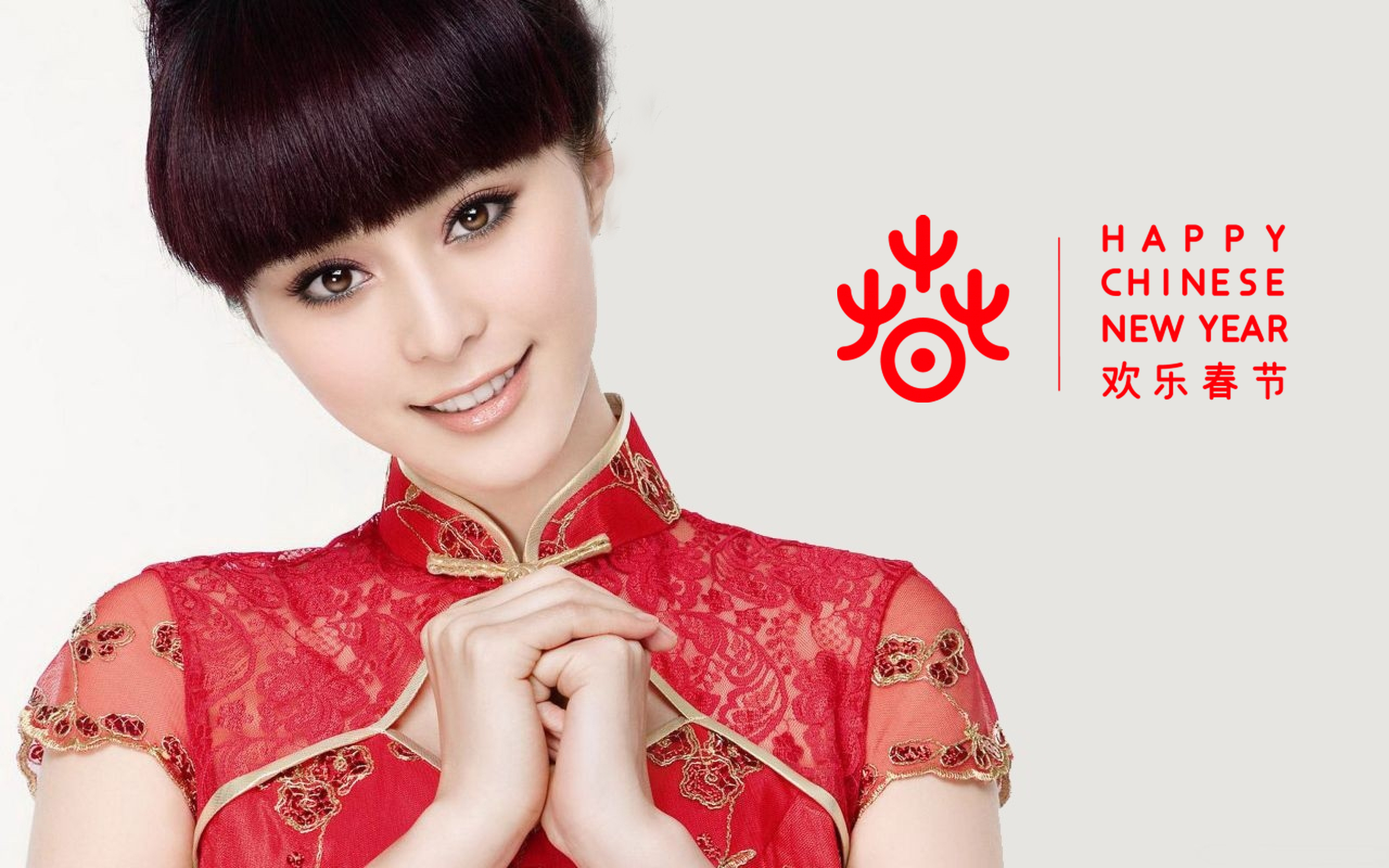 cute chinese girl wallpaper for new year greeting card | hd