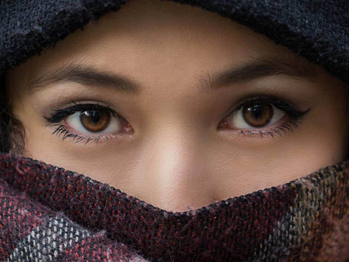 Beautiful Eyes of Girl with Scarf - HD Wallpapers