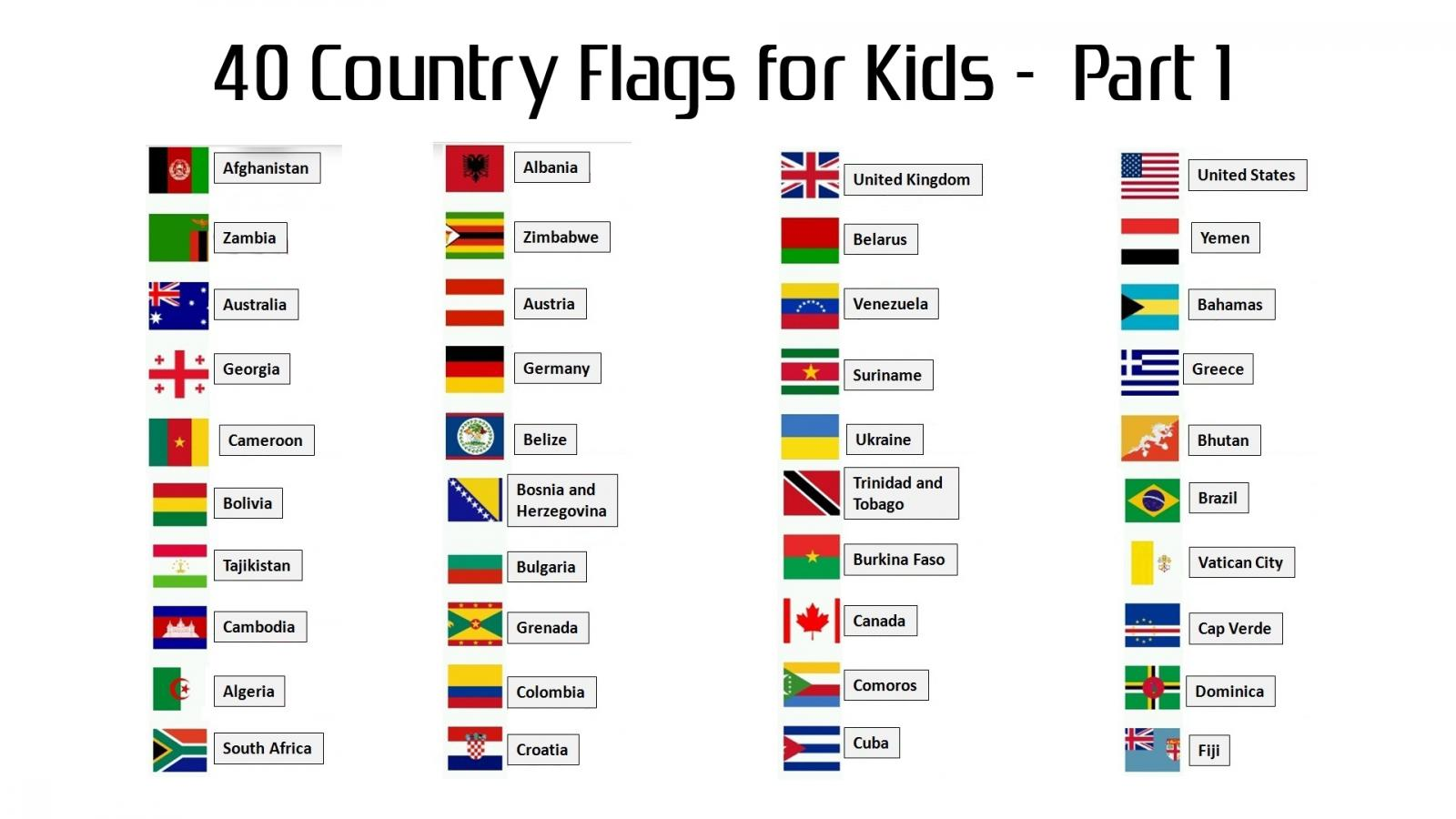 40 country flags with names for kids part 1 hd