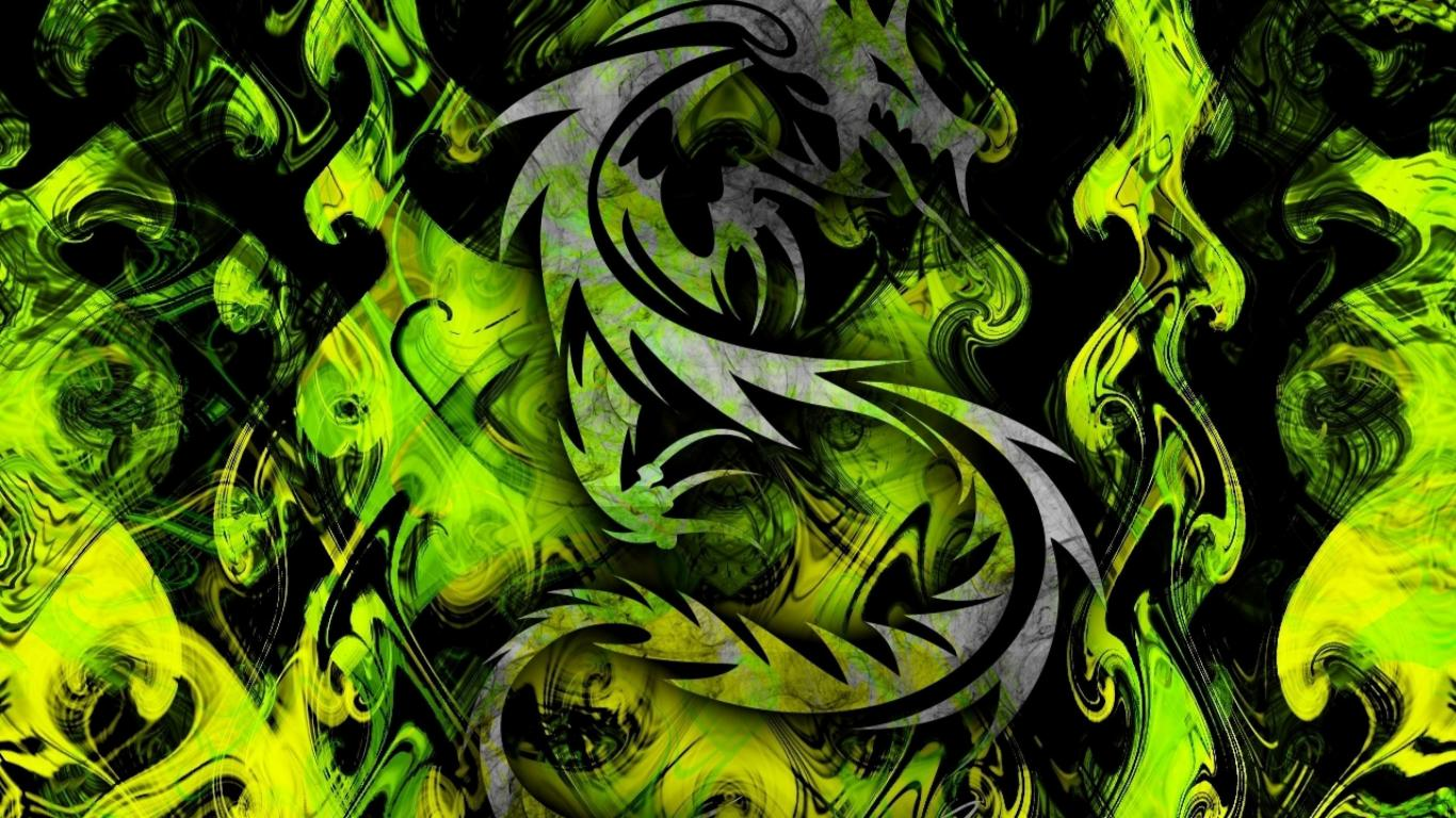 High resolution desktop pictures with cool green tribal - Cool dragon wallpapers ...