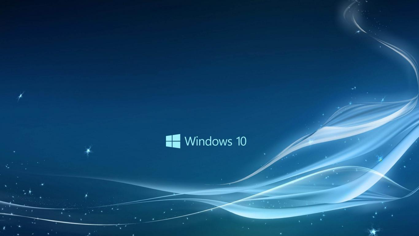 Windows 10 Wallpaper In Blue Abstract Stars And Waves