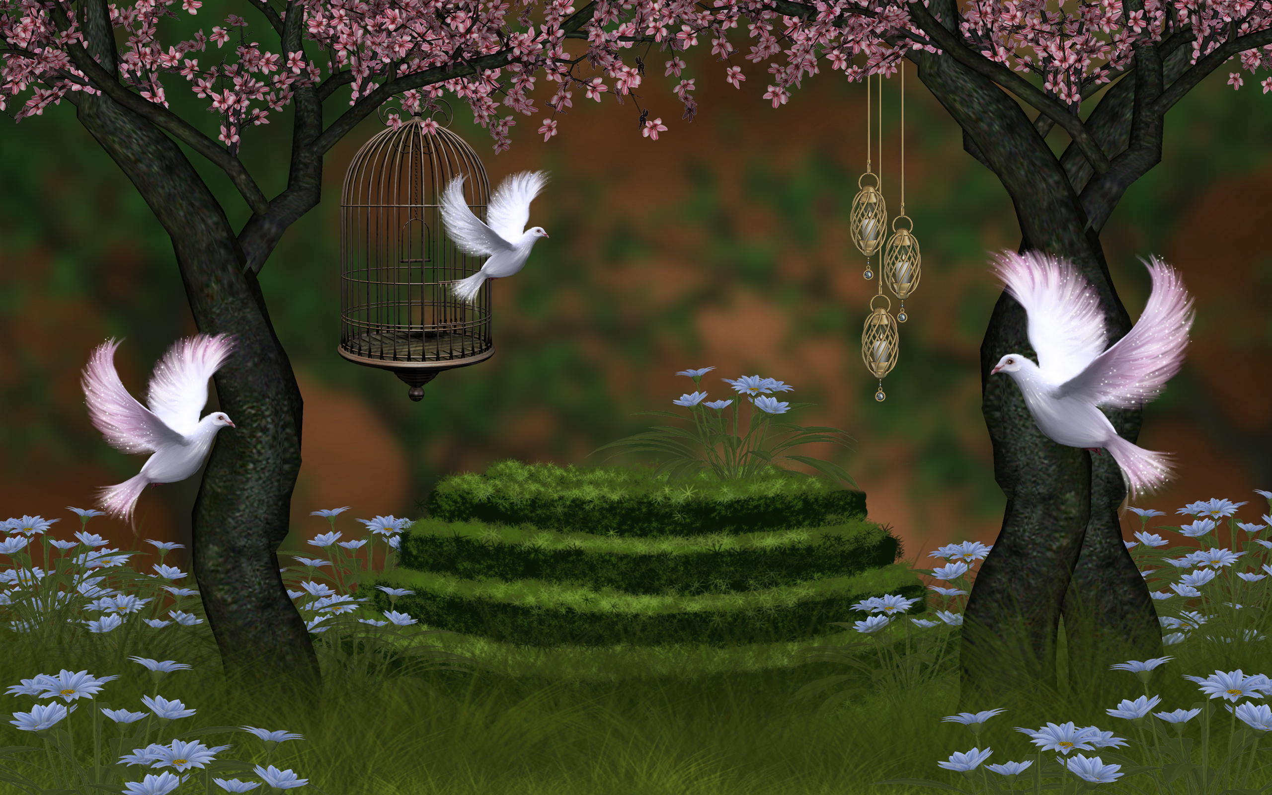 Beautiful Nature Wallpaper For Desktop In 3d With Pigeons And