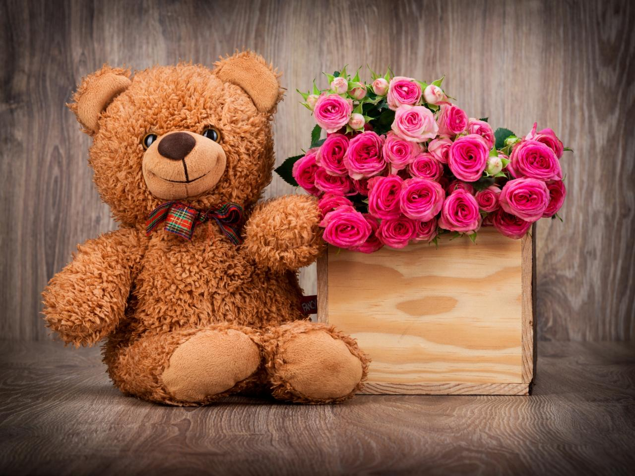 Cute teddy bear wallpaper with pink roses in box hd - Cute teddy bear pics hd download ...