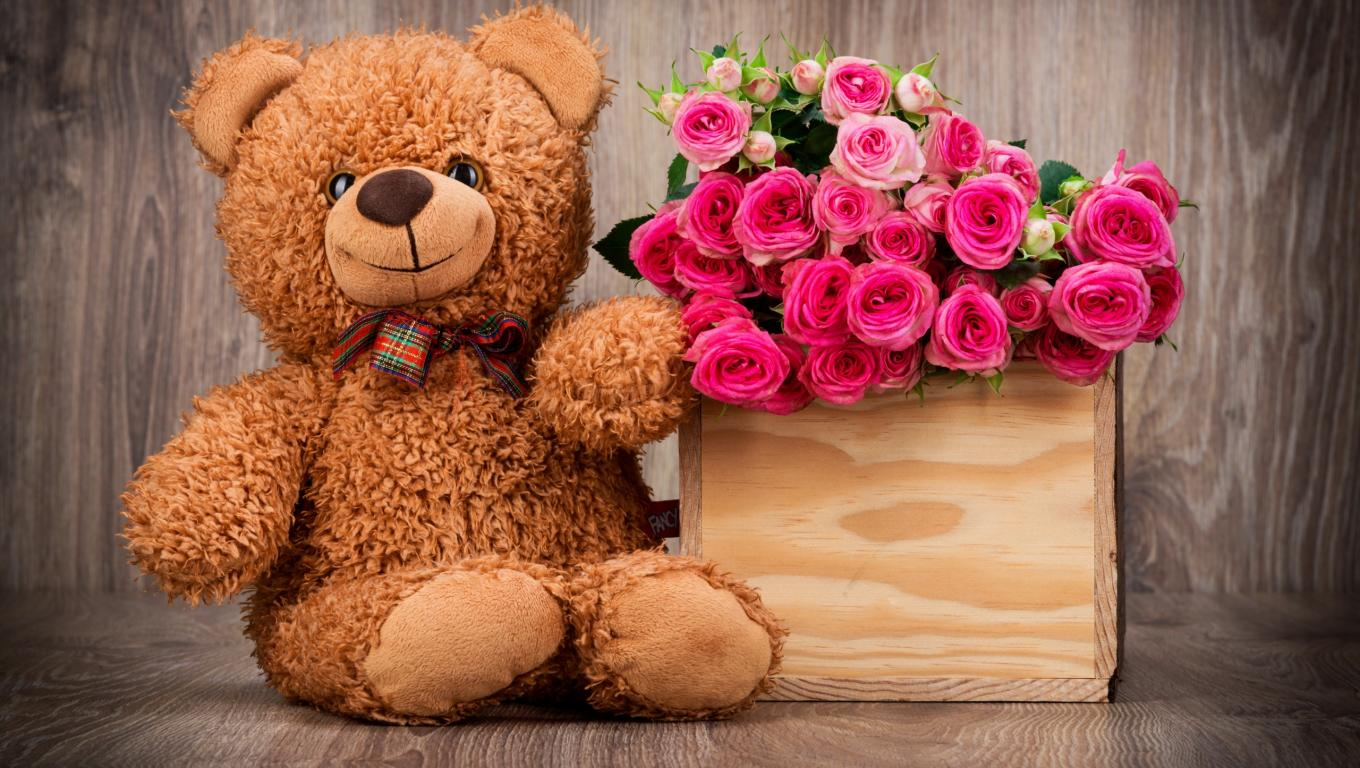Teddy bear with pink roses - photo#29