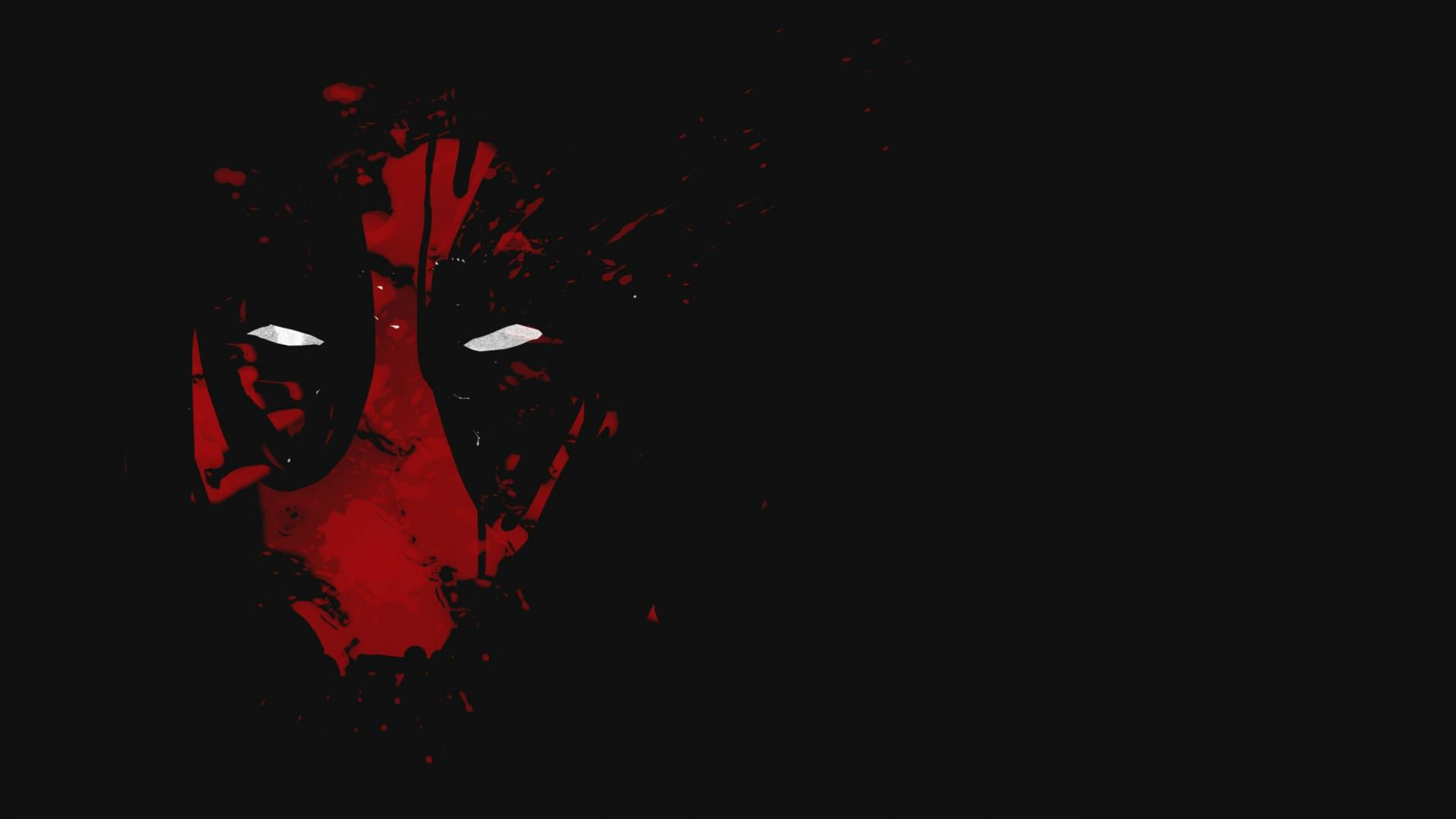 Cool deadpool wallpaper with red abstract mask with white - Dark background wallpaper hd ...