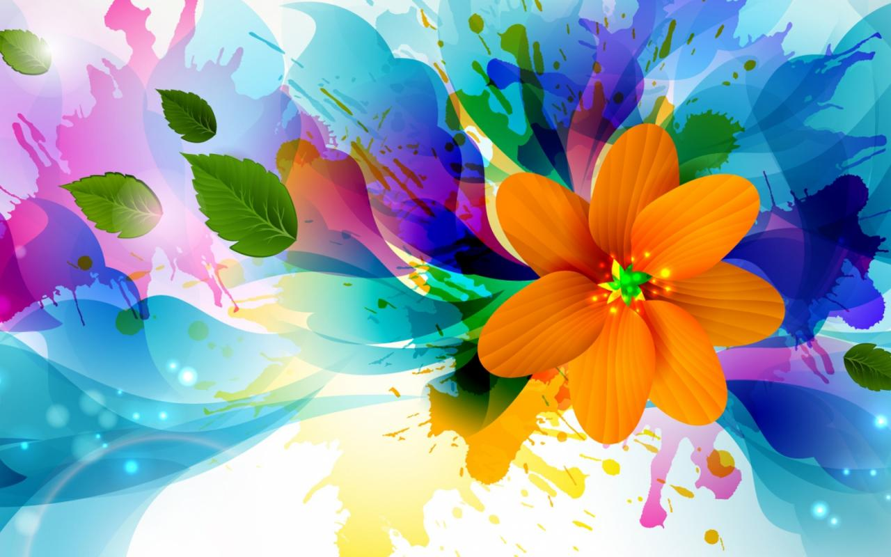 Abstract Design Flower Wallpaper: Abstract 3D Painting Wallpaper With Colorful Flower