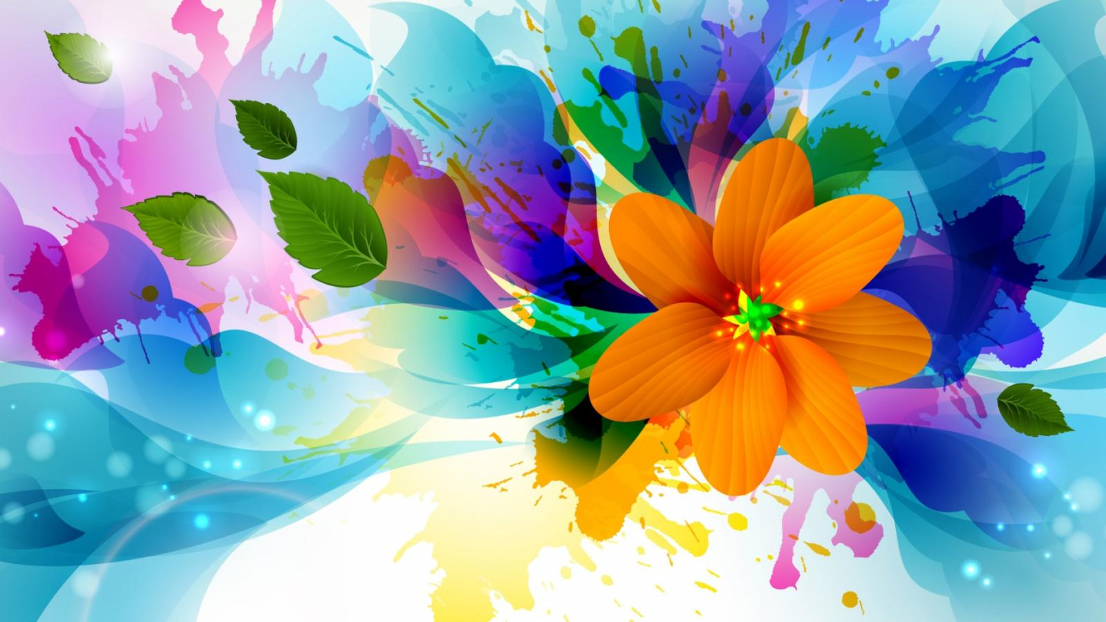 Free Colorful Flower Wallpaper Downloads: Abstract 3D Painting Wallpaper With Colorful Flower