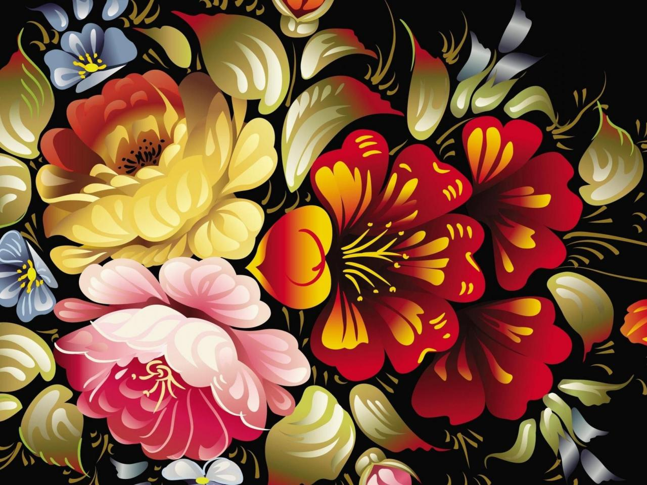 Abstract Design Flower Wallpaper: Abstract Art Desktop Wallpaper With Colorful Flower In 3D