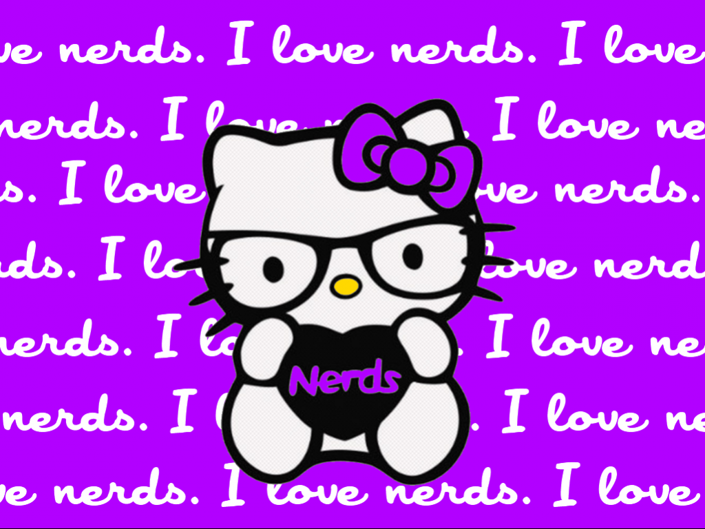 Hello Kitty Nerd Wallpaper With Purple Background And I Love Nerds Quotes  H..