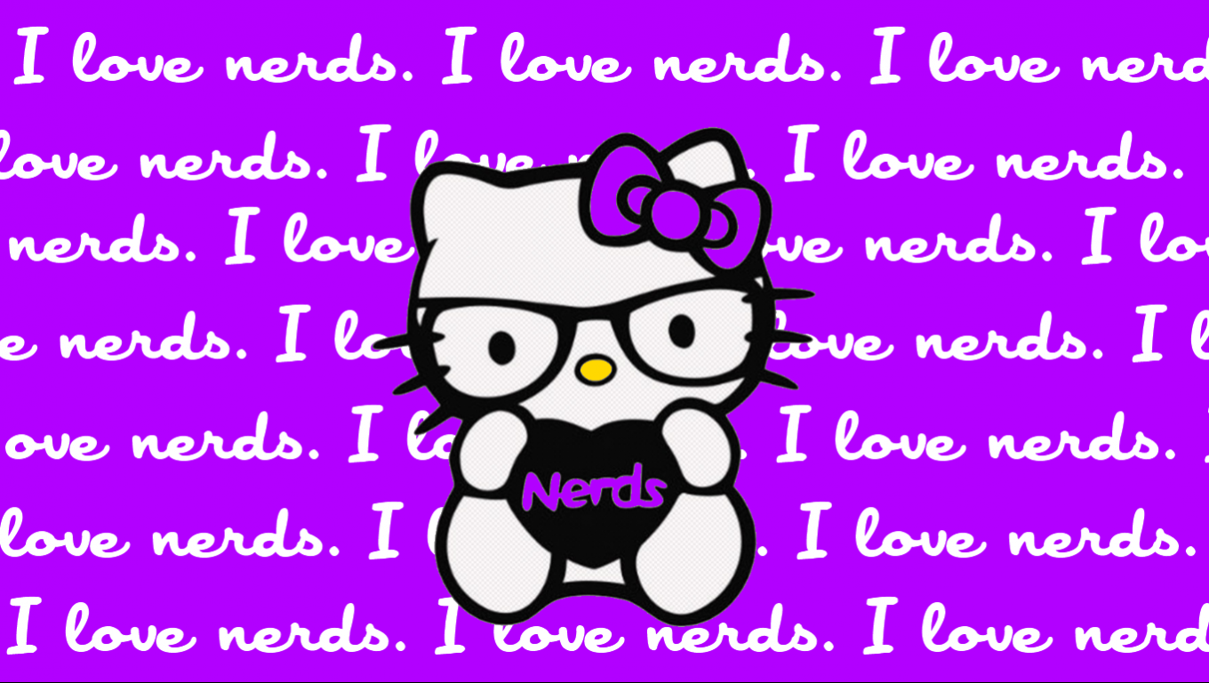 hello kitty nerd wallpaper with purple background and i