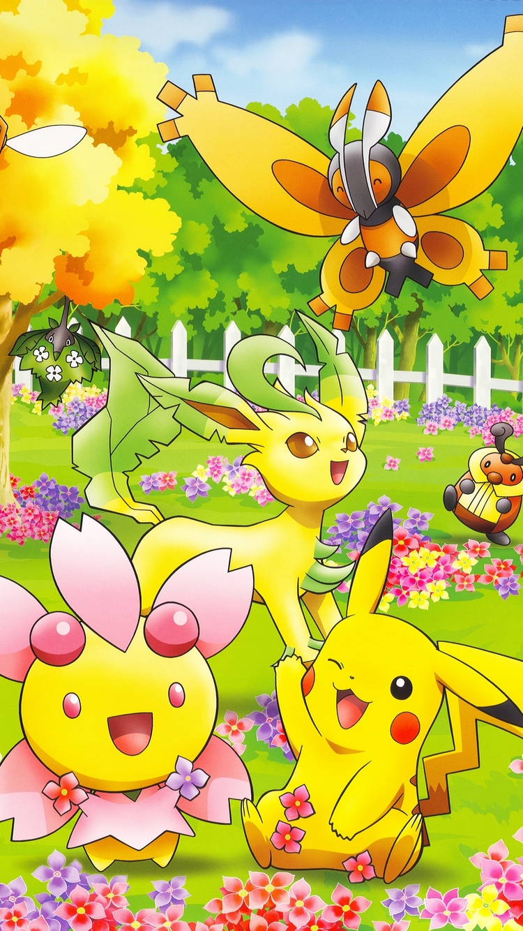 Cute Pokemon On Iphone 7 Wallpaper With Colorful Natures
