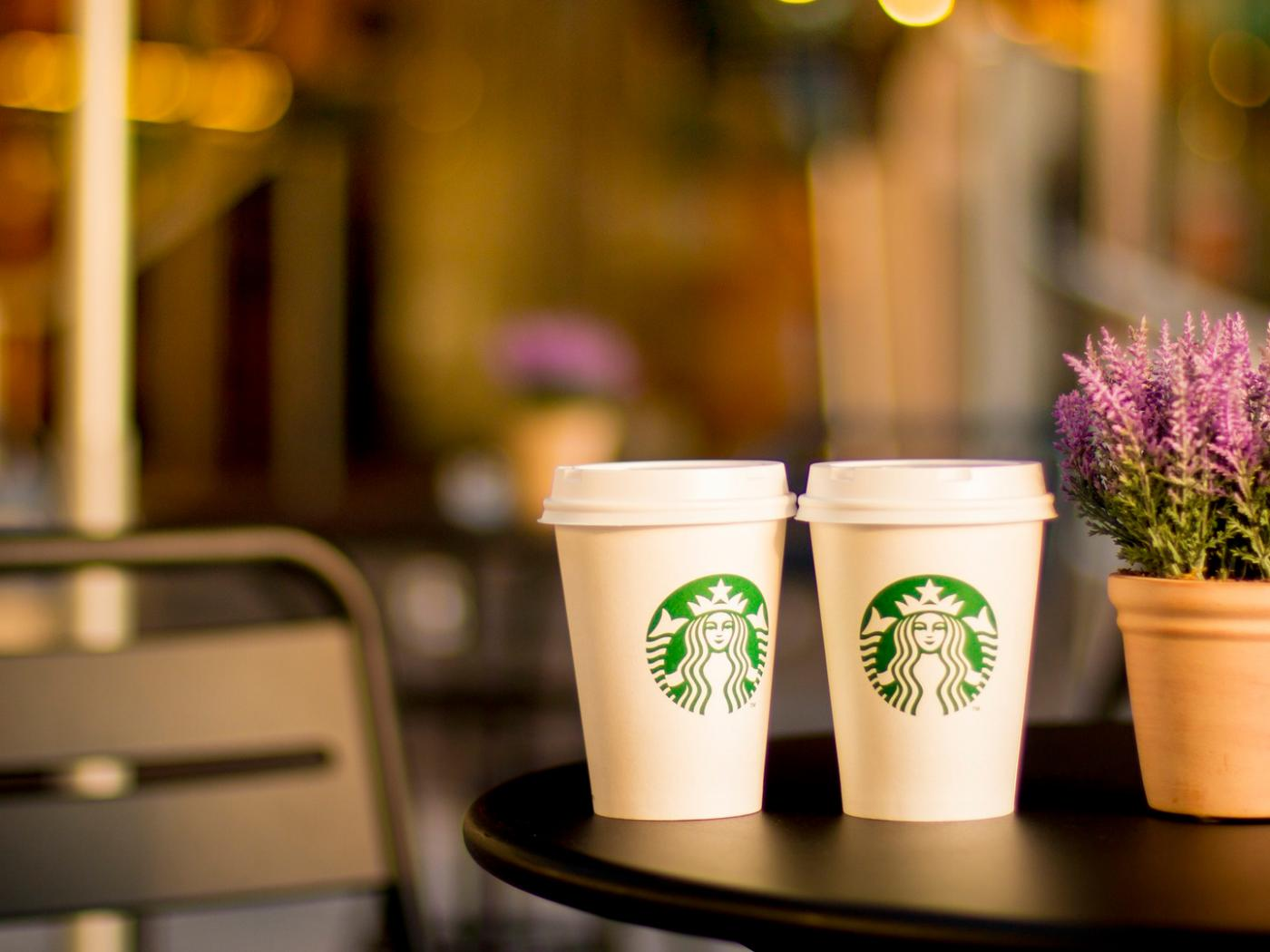 Starbucks Pictures in HD with Two Cups on Table - HD
