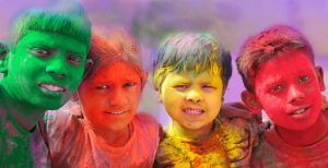 Holi Photo Wallpaper - Annual Holi celebrations Group of kids playing Holi in India