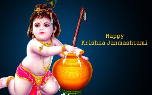 Bal Krishna Eating Makhan for Happy Janmashtami HD Wallpaper