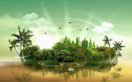 3D Nature Image for Desktop with Fantasy Tropical Island