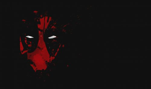 Cool Deadpool Wallpaper with Red Abstract Mask with White Eyes in Dark background