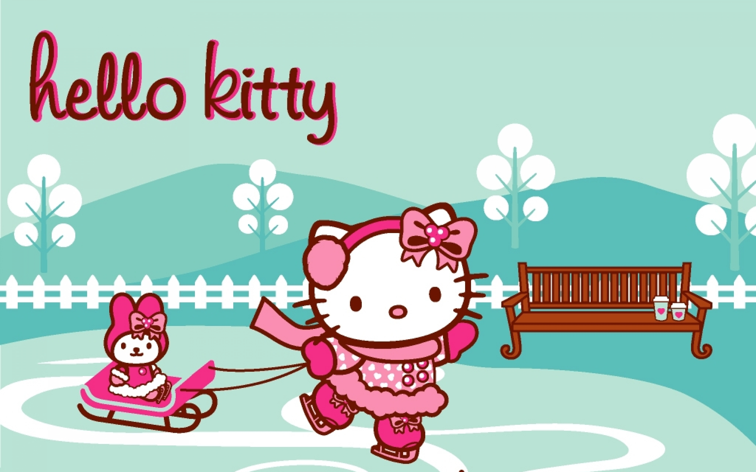 Picture Of Hello Kitty Wallpaper Blue And Pink With My Melody