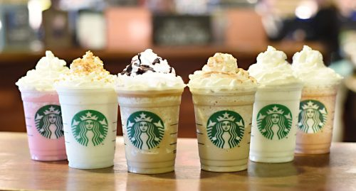 Frappuccino Starbucks Wallpaper in Six Cups of Different Flavors