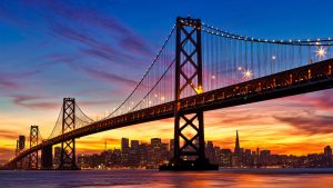 Just Before Sunrise in San Francisco Bay Bridge for Nature Wallpaper