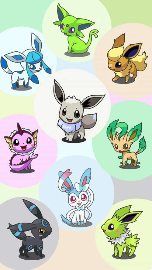 Eevee And Eeveelutions Pokemon On Iphone Mode Wallpaper Hd