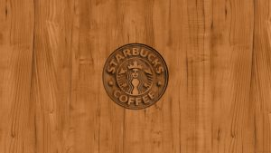 Starbucks Logo Wallpaper with Wood background