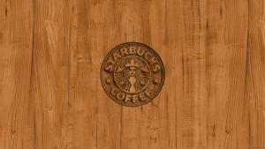 Starbucks Logo Wallpaper with Wood background