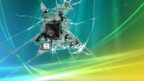 Broken Screen Wallpaper 7 of 49 - Realistic Broken Monitor with Board