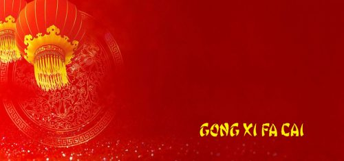 Chinese New Year Photo Cards with Red Background Gong Xi Fa Cai Text
