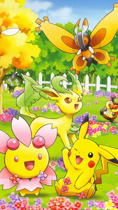 Cute Pokemon on iPhone 7 with Colorful Natures