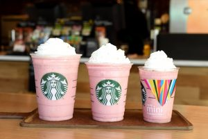 Pink Starbucks Wallpaper with New Frappuccino in Smallest Size