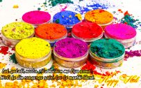 Holi greeting cards with Quotes and Colorful Powders